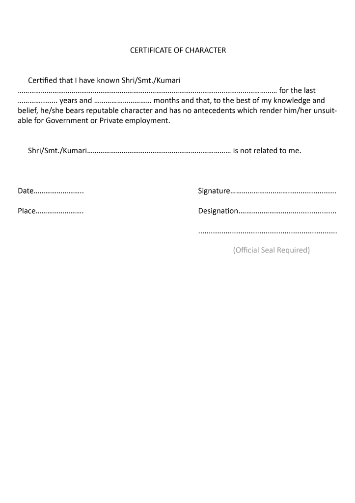 character certificate format   law news